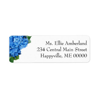 Blue Hydrangea Flowers Skinny Return Address