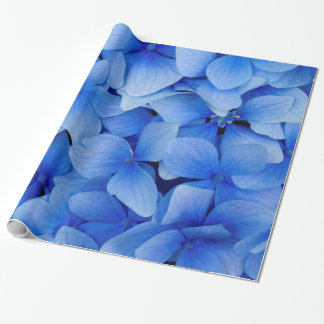 Blue Hydrangea Flowers Wrapping Paper