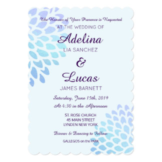 Blue Hydrangea Formal Wedding Invitations