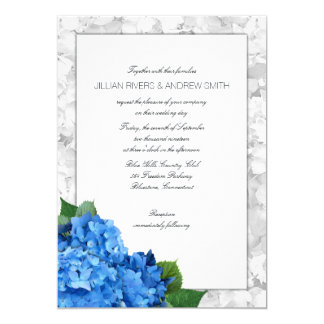 Blue Hydrangea Framed Layered Wedding Invitation