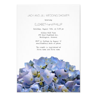 "Blue Hydrangea Jack and Jill Wedding Shower 4.5"" X 6.25"" Invitation Card"