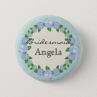 Blue Hydrangea Lace Floral Formal Bridesmaid Badge 2 Inch Round Button