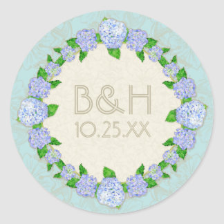 Blue Hydrangea Lace Floral Formal Elegant Weddings Classic Round Sticker