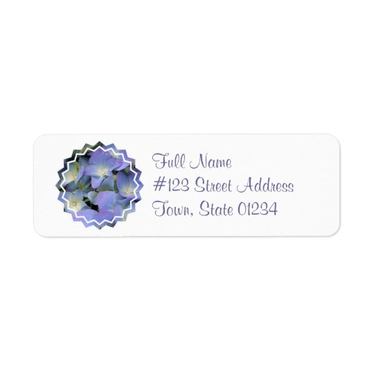 Blue Hydrangea Mailing Label Return Address Label