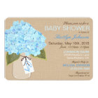 Blue Hydrangea Mason Jar Rustic Baby Shower Card