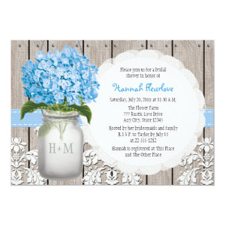 "Blue Hydrangea Monogrammed Mason Jar Bridal Shower 5"" X 7"" Invitation Card"