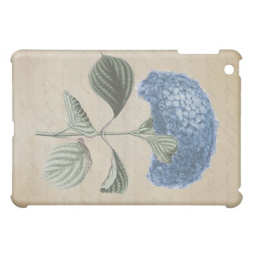 Blue Hydrangea on Vintage Calligraphy Paper iPad Mini Cases