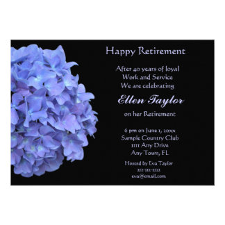 Blue Hydrangea Retirement Party Invitation