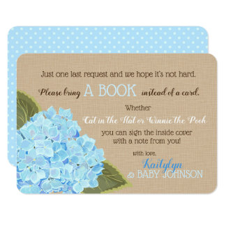 Blue Hydrangea Rustic Read a Book Card