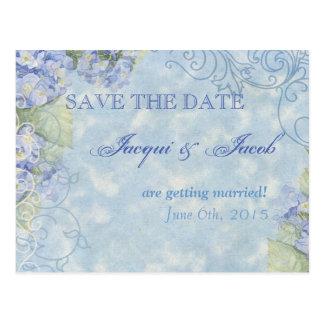 Blue Hydrangea, Save the Date Postcard