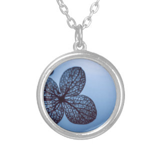 Blue Hydrangea Silver Plated Necklace