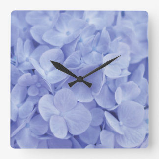 Blue Hydrangea Square Wall Clock