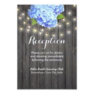 Blue Hydrangea & String Lights Barn Wood Reception Card
