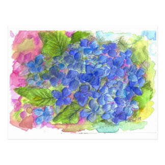 Blue Hydrangea Watercolor Flower Art Postcard