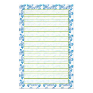 Blue Hydrangea Watercolor Flowers Lined Stationery