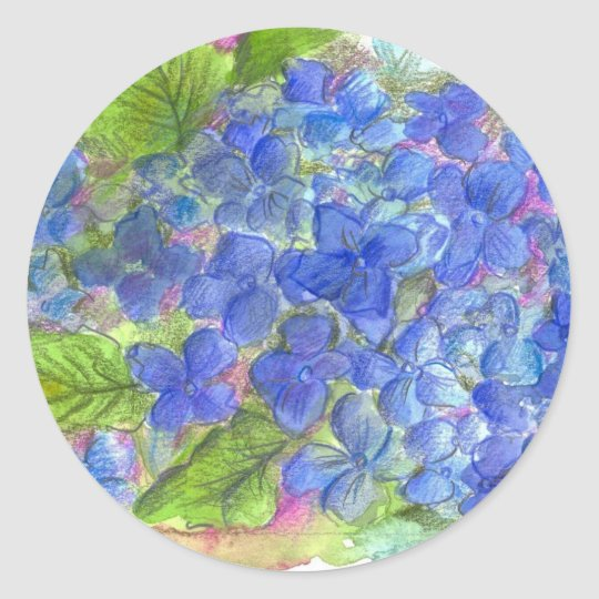 Blue Hydrangea Watercolor Flowers Painting Classic Round Sticker