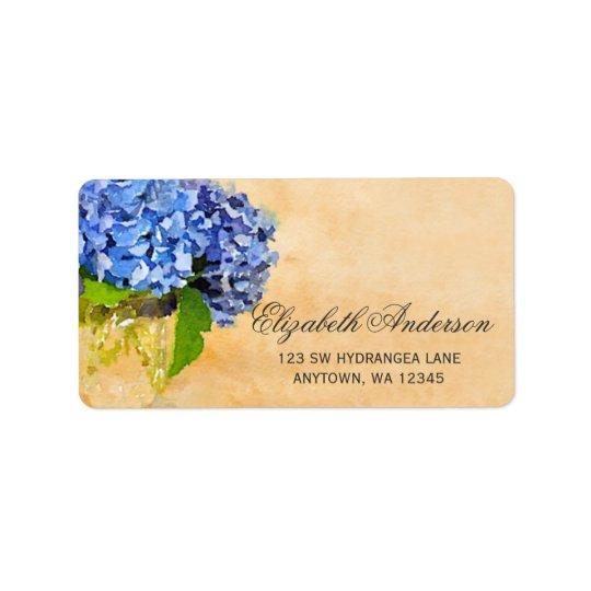 Blue Hydrangea Watercolor Mason Jar Label