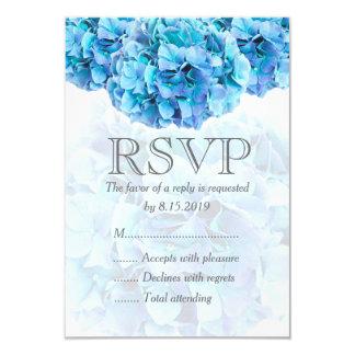Blue hydrangea wedding RSVP card
