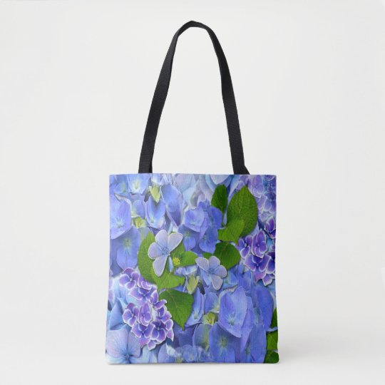 Blue Hydrangeas & Butterflies Tote Bag