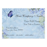 Blue Hydrangeas, Butterfly & Swirl Modern Floral Large Business Card