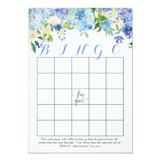 blue hydrangeas Floral Bridal Shower Bingo Cards