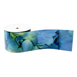 Blue hydrangeas grosgrain ribbon