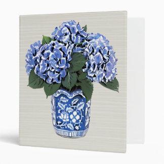 Blue Hydrangeas in a Floral Ceramic Pot Binders