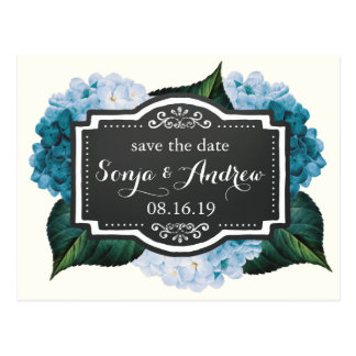 Blue Hydrangeas Save the Date Postcard