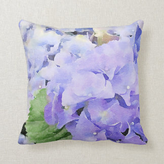 Blue Hydrangeas Watercolor Design Throw Pillow