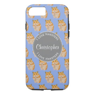 Blue I love Hamsters Hamster Pattern iPhone 8/7 Case