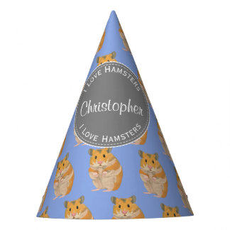 Blue I love Hamsters Hamster Pattern Party Hat