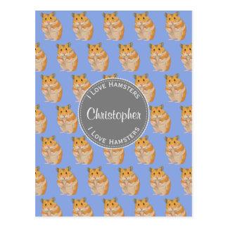 Blue I love Hamsters Hamster Pattern Postcard
