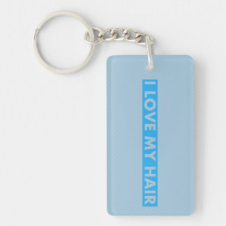 Blue I Love My Hair Bold Text Cutout Keychain