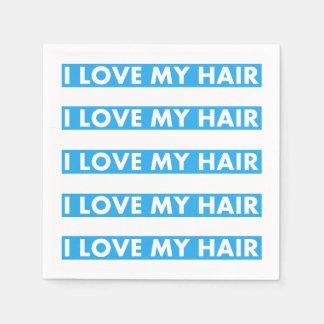 Blue I Love My Hair Bold Text Cutout Paper Napkin
