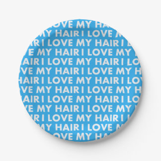 Blue I Love My Hair Bold Text Cutout Paper Plate