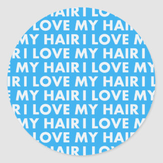 Blue I Love My Hair Cutout Classic Round Sticker
