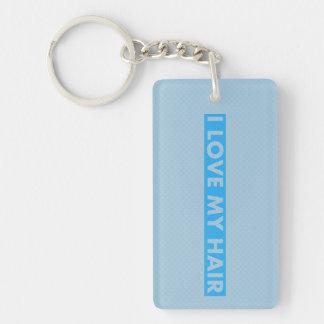 Blue I Love My Hair Cutout Keychain