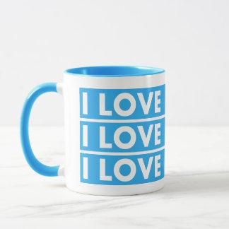 Blue I Love My Hair Cutout Mug