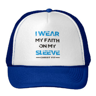 Blue I wear my faith cap Trucker Hat