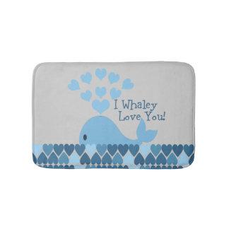 Blue I Whaley Love You! Bath Mat