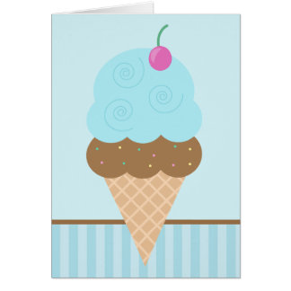 Blue Ice Cream Cone Card