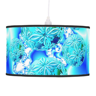 Blue Ice Crystals Abstract Aqua Azure Cyan Fractal Pendant Lamp