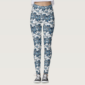 Blue Ice crystals floral bouquet Leggings