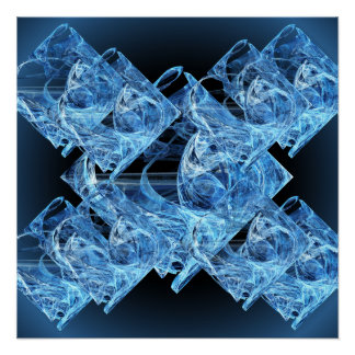 Blue Ice Cubes Perfect Poster