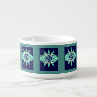 Blue Ice Floral Geometric Design Chili Bowl