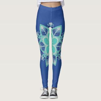 Blue Ice Floral Geometric Design Leggings