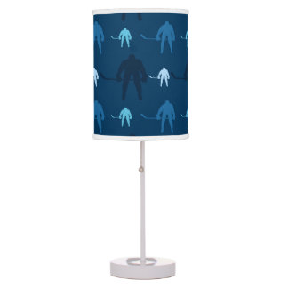 Blue Ice Hockey Player Pattern Table Lamp
