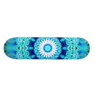 Blue Ice Lace Doily, Abstract Aqua Skateboards