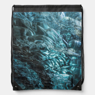Blue ice of an ice cave, Iceland Drawstring Bag