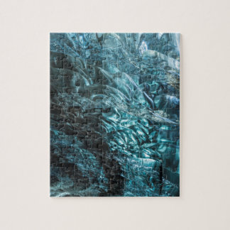 Blue ice of an ice cave, Iceland Jigsaw Puzzle